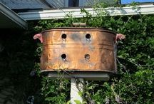 BIRDHOUSES, FEEDERS, BIRDBATHS   / We search for Birdhouses that are handmade of antique and one-of-a-kind detail. Love the look of primitive, rustic, country, antique, farmhouse!!