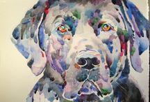 My dogs / Dogs, King Charles spaniel, watercolor, art, children's rooms, Labrador, German Shepherd, dog