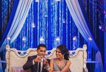 Sangeet 25th April - Mr&Mrs Nitin / Sangeet with a royal blue white and silver lining. Seating in small shamiyanas or pods/cubicles family wise.