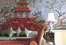 chinoiserie et al / For my love of the Orient - anything in furniture, artwork,soft furnishings, wallpaper...the colours are so exciting.
