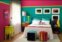Decoração em cores frescas e coloridas. / by Adriana Santos