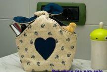 Organizadores e cestos de tecido, artesanatos bem bolados.