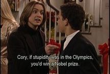Boy Meets World / Sooooo my older sister got me into this show. I love it very much and I love Shawn and Cory's friendship. I ship Topanga and Cory. X3 My favorite characters are Eric, Jack, Cory, Shawn, and Topanga (so basically everybody).