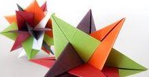 Kusudama & otros / Kusudamas, módulos, flores, estrellas, farolitos. papel plegado para hacer colgantes, lámparas, guirnaldas, marcadores de hojas.