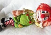 crocheted circles clowns