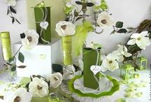 Mariage vert et blanc / Ce thème de décoration rappelle la nature. Il est très adapté pour un thème champêtre, sans faire campagnard. Le marron rappelle le bois, la terre et le vert profond évoque les feuilles, la mousse, la forêt.