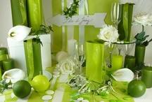 Déco de table vert anis végétal / Pour une décoration de table très nature... Les couleurs rappellent les éléments de la nature. Le rendu est donc une ambiance déco très apaisante et zen. On joue avec les différentes teintes de vert : vert anis, vert forêt... Pour les éléments de déco, misez sur les rubans de différentes tailles et de différentes matières : organdi, satin... Vous pouvez les utiliser comme marque-places et en superposition sur votre chemin de table...