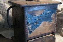 Colonial Blues / Early primitive wooden furnishings painted blue / by Yolanda Iding