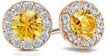 Yellow & Rose Collection / Our Collection of yellow diamond studs in 14k rose gold