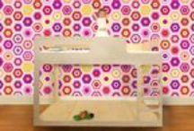 Decorate in Playful Pink / Decorate Nursery, Kids, or Tweens rooms with Fabric Wallpaper, Bedding, Lighting, and storage options