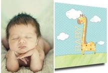 """Baby: Giraffe  / 12"""" x 12"""" canvas greeting pieces are designed to be signed, personalized, and displayed as decor on either a shelf or a wall. www.canvaskudos.com"""