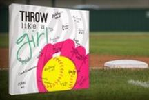 Sports: Softball / The perfect keepsake for Softball players, teams and coaches! #giftideas 12x12 hangable canvas that you can write on!