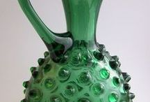 "Glass jugs & pitchers / Starting a ""pin collection"" of beautiful colorful vintage glass jugs"