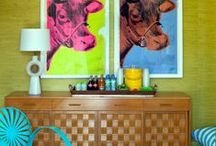 Pop touch / Pop interior design, 70's-80's modern furniture, pop & abstract art, posters, bold furniture remakes, comics...