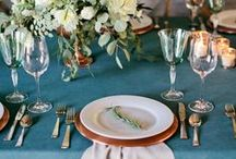 Copper-teal wedding styling