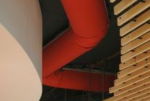 Queen Mary University Fabric Ducting System / Prihoda UK Fabric Ducting system installed at Queen Mary University in London. Designed for cooling and make up air delivery using Half Round Fabric Ducts designed to become a feature within the vibrant environment.