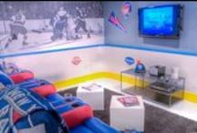 NHL Man Cave / The best ideas for creating a hockey themed man cave including hockey stick furniture, designer NHL products, and a McClure Shuffleboard Table.