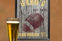 NFL Man Cave / Inspiration for the football obsessed to create their Man Cave with the Huntington Shuffleboard Table and other NFL accessories.
