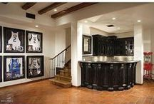 NBA Man Cave / Go big with your NBA Man Cave with full on courts, basketball inspired furniture, memorabilia, and the Sloan Shuffleboard.