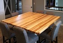 Butcher Block Kitchen Countertops / Each butcher block countertop is crafted out of the finest caliber Michigan hard maple, walnut, cherry, or oak and assembled by master craftsmen to create a truly premium surface. www.mccluretables.com