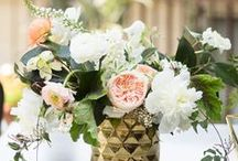 Rustic Peach, Gold & Green Wedding Inspiration / An eclectic mix of gold geometric touches, rustic furniture pieces and romantic peach blooms tied together with lush greenery.
