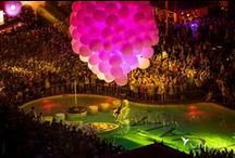 Molecole Show FULL COLOR / Performance Molecole Show  Cluster balloons show with an aerialist dancer flying with trapeze  David Guetta Ushuaia Ibiza