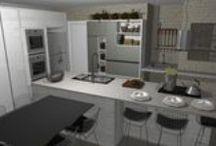 Sala e cozinha / Projeto de móveis para sala de televisão