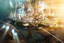 sci-fi,  science fiction, fantasy, #mattepainting / sci-fi, Science-fiction #mattepainting