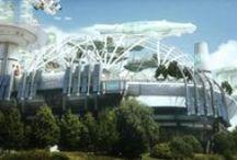 Stade rennais / roazhon park / Futuriste / Cette animation propose une vision de ce que pourrait être le Rennes du futur, avec ses transports, son architecture, ses fermes urbaines, ses services et son stade!