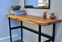 Salvaged and Reclaimed Live Edge Slab: CONSOLE TABLES / Well fitted for your front hallway or behind a sofa, Urban Tree Salvage live edge slab console tables are a great way to break up and soften hard architectural lines.  Or maybe a more straight edge approach will help compliment your interior decor.