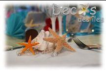Mariage thème mer / Pour un mariage sur le thème de la mer, voici quelques idées de décorations marines, accessoires, file de pêche décoratif, bateaux,voiliers,étoiles de mer et coquillages marins