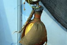 interesting figurine and dolls / statues belong to different epochs and styles and dolls