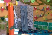 """Jungle themed class / Transforming the classroom with the kids into a """"jungle"""" for our final project."""