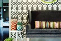 Geo graphic / Use a mix of large and small graphic patterns to spruce up your space and make it visually engaging.