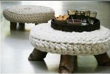 Crochet rug, chair & lampshade