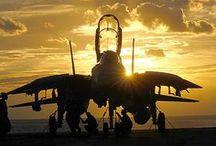 Aircraft and sunset