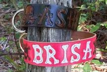 Dog Collars with Skulls / Behind The Wire Shop custom makes leather dog collars that are personalized in a bone font.