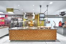 dpai - University of Toronto Food Services / University of Toronto's Food and Ancillary Services wished to realize 5 unique food concepts on campus. dpai architecture provided a full scope of architectural services for Stone Oven Pizza- a pizzeria inspired by simple, fresh ingredients; Soup!- a soup bar inspired by Andy Warhol; Not Just Greens, a salad bar that showcases the importance of local, ingredients; Tortillas, which juxtaposes authentic southwestern culture and Gourmet Burger House, inspired by the hot gourmet food truck trend.