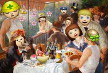 """EmojiNALART !!!! / Des œuvres de grand maitres détournés par le Tumblr """"EmojinalArt"""". Une idée ultra originale qui consiste a coller des émoji sur des œuvres célèbres.  Picasso, Raphaël, Seurat, Goya, Kirchner et bien d'autre .. personne n'est épargnés. !! #BigLOL"""