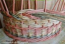 woven baskets and other things / Anything one can make by weaving old newspapers and magazines