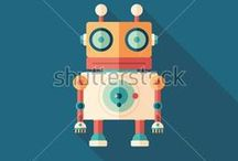 Robots / Robot flat icons & seamless patterns.