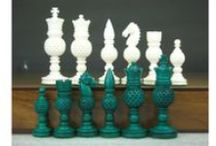 Original Bone Chess Pieces - chessbazaar.com / Ivory was extensively used to carve chess pieces in the 18th and 19th century but with worldwide ban on elephant ivory the same designs which were earlier made in ivory have been copied on camel bone.