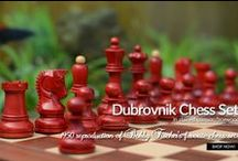 """1950 Chess Olympiad Dubrovnik Bobby Fischer Chessbazaar Exclusive Chess set - 3.6"""" King / 1950 Dubrovnik chess set was first seen in the 9th Chess Olympiad organized by the FIDE and the government of Yugoslavia. The Olympiad was held in Dubrovnik, Croatia between August 20 and September 11, 1950. This Olympiad had 84 chess players representing 16 nations who played a total of 480 games."""