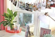 home OFFICE workspace LOVE for creatives / You don't need a huge space to have a workspace that inspires you to create. You just need to use the space you have. Tips for organizing supplies and coworking in a tiny space.