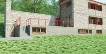 08001_HOUSE-1 / Architectural design of a small, stone holiday house in the village of Polydrosos, Fokida, Greee. Architectural drawings of a small stone house.