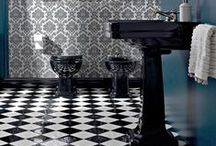 Art Deco / Inspired by the Great Gatsby, Art Deco bathrooms combine black, white and chrome with sharp angles and voluptuous curves