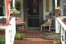 """Patriotic Door / Porch Ideas / """"A love for tradition has never weakened a nation, indeed it has strengthened nations in their hour of peril. """"  ― Winston Churchill  / by Kathy Herrington"""