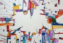   Lusa Luso ♥ Ana Aragao   / Ana Aragao est une jeune artiste portugaise, fascinée par l'univers des villes et leur représentation, réelle ou imaginaire. Ses oeuvres, fantastiques, montrent sa préoccupation de traduire de la façon la plus précise possible, toutes les cartes mentales qui l'habitent et toutes les émotions que suscitent en elle la vie citadine.