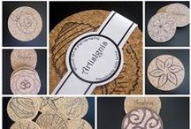 Cork Housewares by Artis Ignis / Cork, Cork coasters, Cork hot pads, Portuguese cork, Pyrography, Pyrographed cork, wood burned cork, Housewares, Homewares