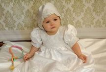 Satin Christening Gown with Beading / Satin christening gown for girls with heavy beading throughout. Matching bonnet included. Available exclusively at Christian Expressions  http://www.christeningapparel.com/christening-gowns/baptism-dresses/deena-christening-gowns.html